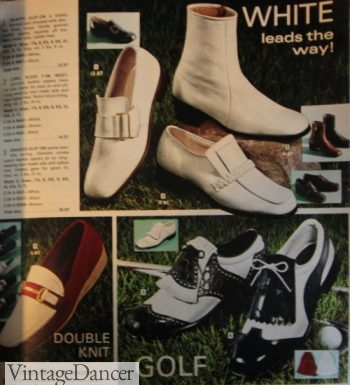 1970s Men's White boots, loafers and golf shoes