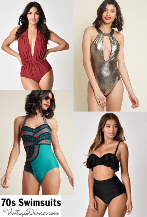 1970s style swimsuits, bathing suits, retro bikini and one piece swimwear at vintagedancer