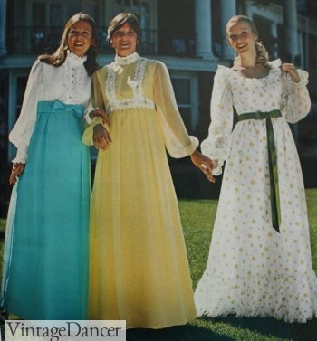1973 prom dress, granny peasant dresses