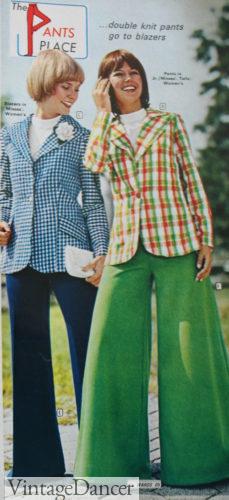 1973 plaid and check blazer pantsuits