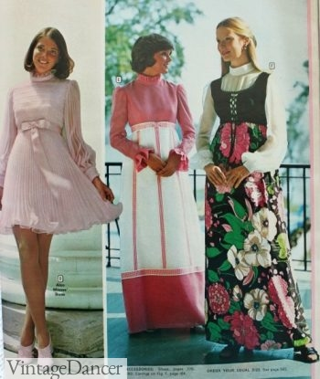 1973 prom dresses, short and maxi