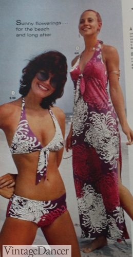 1973 tropical bikini and swim cover up