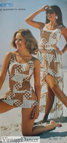 1973 geo print swimdress and cover up bathing suit