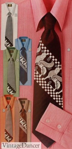 1973 check and abstract pattern ties