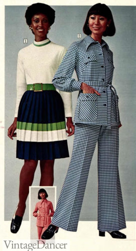 1974 check pantsuit models black and Asian Chinese