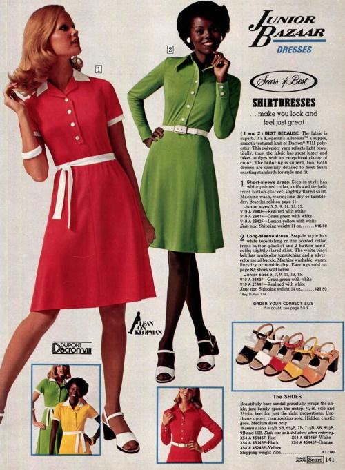 1975 simple tie-waist shirt dresses and sandal heels for teens