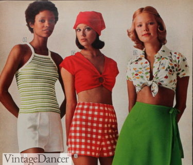1975 knit top, ring crop top and tie blouse top