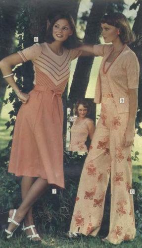 1970s fashion 1976 chevron knit dress and wide leg pant set