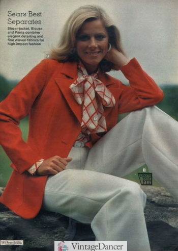 1970s outfit idea the pantsuit look with wide leg trouser, bow blouse and blazer.