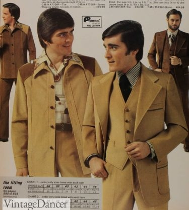 mens 1976 corduroy suits and leisure suits in yellow-tan