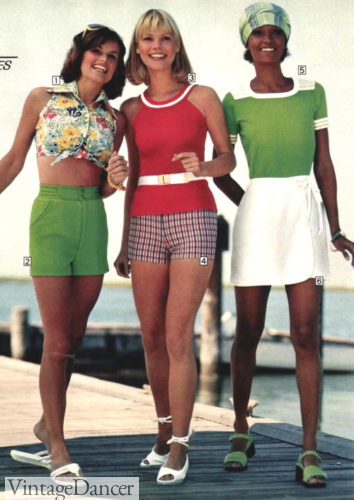 1970s summer outfits 1977 shorts and tops (L) and skort skirt (R)