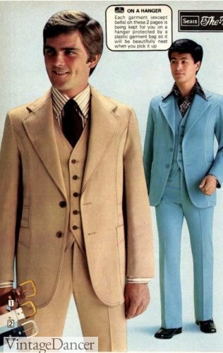 1977 mens three piece suit with vest