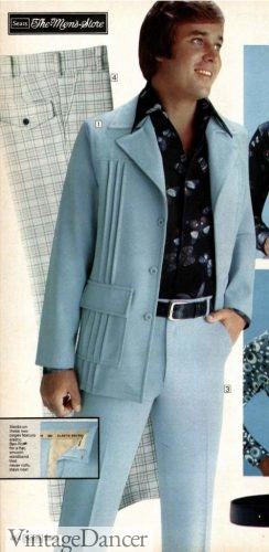 1977 leisure suit with vertical pleats baby blue color