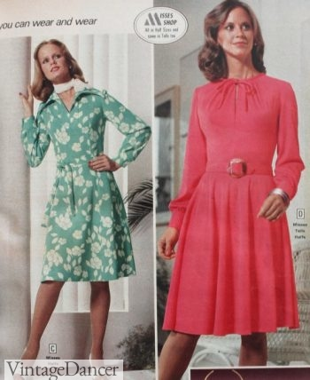 1977 A-line dresses with belt or tie