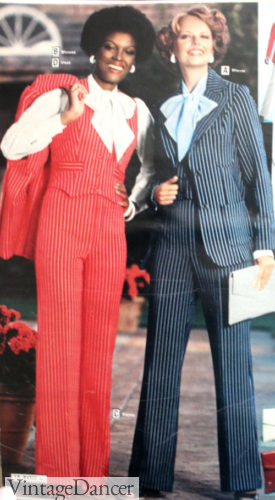 1977 pinstripe pantsuits