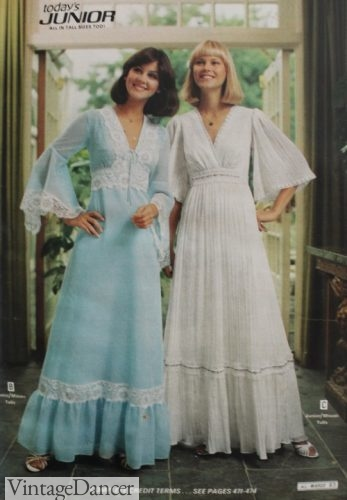 1977 sheer prairie style gowns evening formal prom
