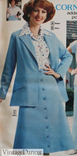 1977 blue blazer and button skirt with oversized collar blouse