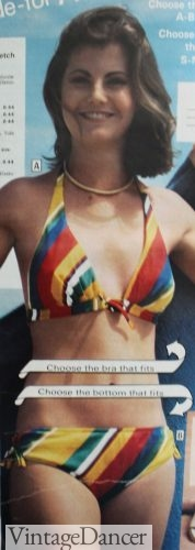 1977 rainbow bikini, hippie swimsuit