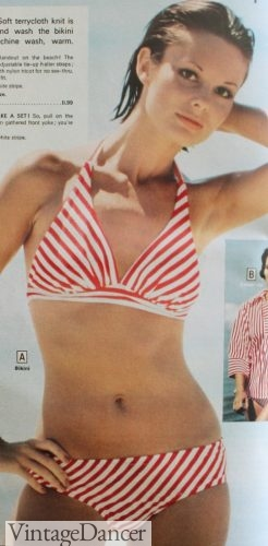 1977 candy stripe bikini bathing suit