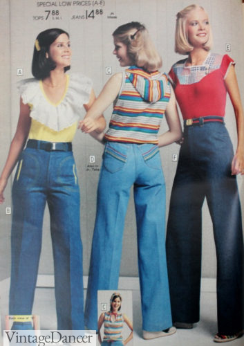1978 high waisted jeans, decorative embroidery