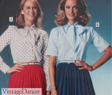 1978 short and long sleeve bow tie blouses