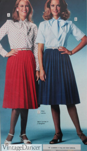 1978 pleated knee length skirts and blouses