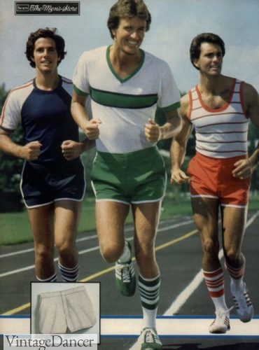 1979 running shorts and T shirts mens retro workout clothes