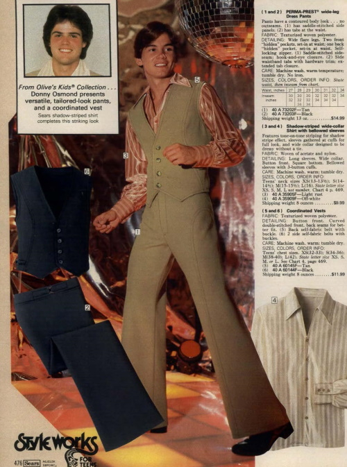 1979 Donny Osmond models the disco looj- vest, pant, shirt and platform shoes