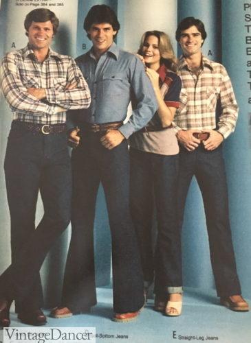 1979 mens 70s denim jeans and plaid shirts