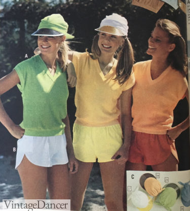70s workout clothes gym clothes and visors 1979 womens outfits