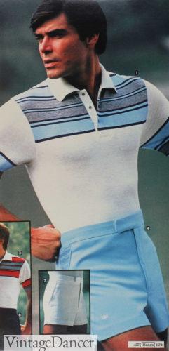 1980 mens retro stripe polo shirt at VintageDancer