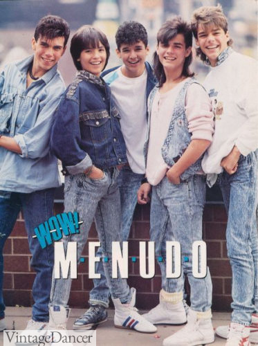 Acid wash jeans worn by the 80s band Menudo at VintageDancer