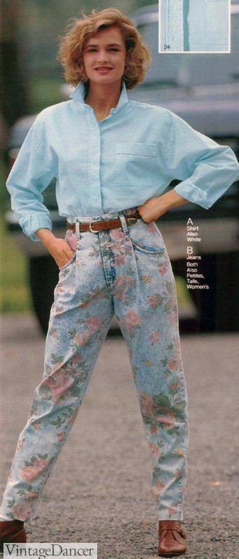 80s fashion floral faded jeans