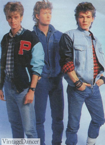 1980s guys clothing, Varsity jackets and denim, go hand in hand at VintageDancer