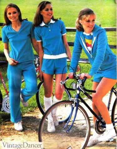 1980s workout clothes, 1981 terry cloth tracksuits and short sets
