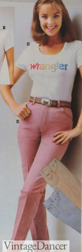 80s fashion 1982 pink Wrangler jeans