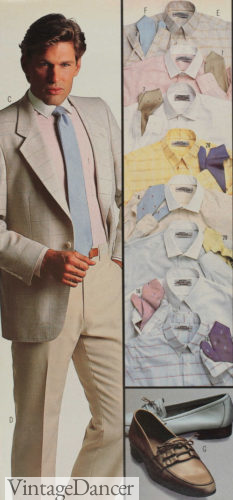 1985 men's clothing, sport coats and slack with pastel white collar shirts at VintageDancer