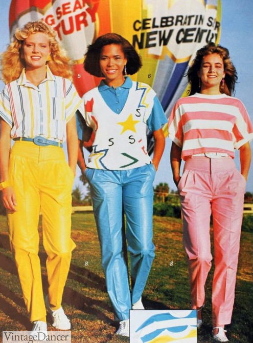 1986 shiny cotton pants 80s fashion