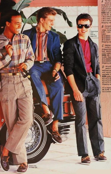 1986 men's 80s casual outfits with boat shoes, no socks. VintageDancer