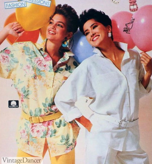 1980s fashion trend , 1986 oversize shirts with loose belts
