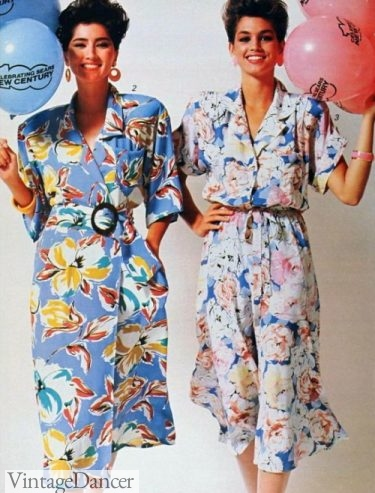1986 wrap and shirtdresses in tropical prints 80s casual summer dresses