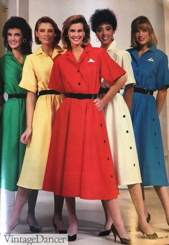 80s classics casual dresses, 1987 shirtwaist dresses in primary colors