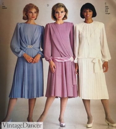 1987 ruched and drop waist dresses mture mrs women dress styles fashion 80s