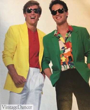 1987 layered look with blazer, tropical shirt and cotton pants, and sunglasses at VintageDancer