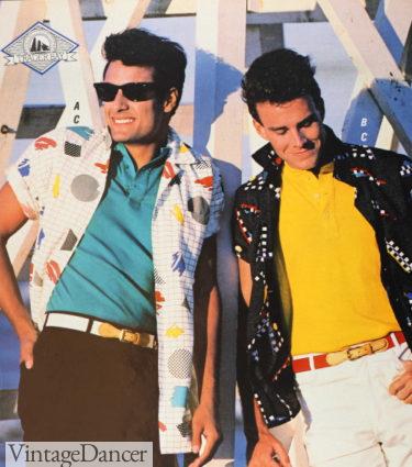 1987 guys abstract print shirts over t-shirts at VintageDancer