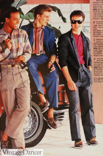1980s mens fashion teen guys 1987 twill cargo pants at VintageDancer