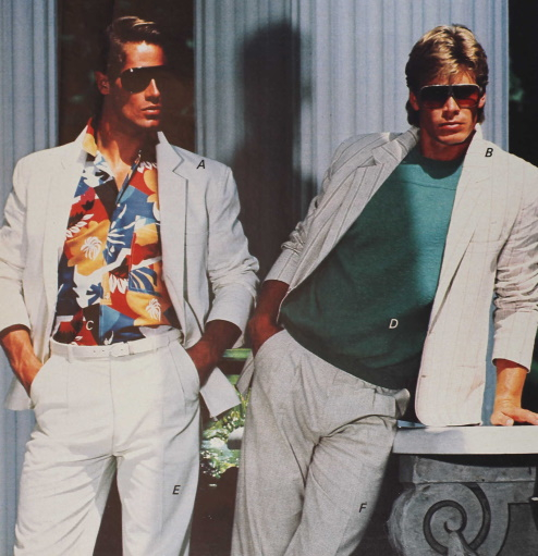 """80s guys clothing, 1987 the white suit with casual shirt was a classic """"Maimi Vice"""" look in summer at VintageDancer"""