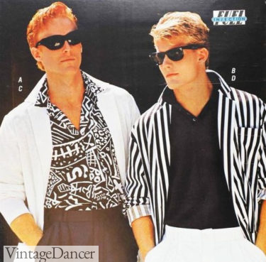 1987 men's black and white patterned shirts Memphis style guys shirts at VintageDancer