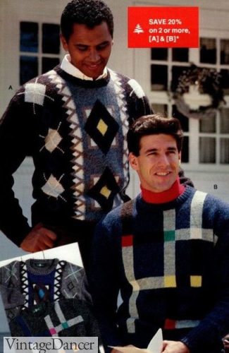 1987 guys ugly geometric print sweaters at VintageDancer