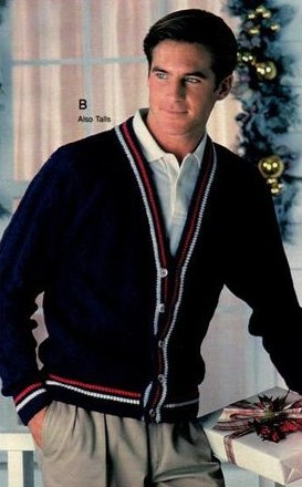 1988 preppy mens style outfit with varsity sweater cricket sweater at VintageDancer